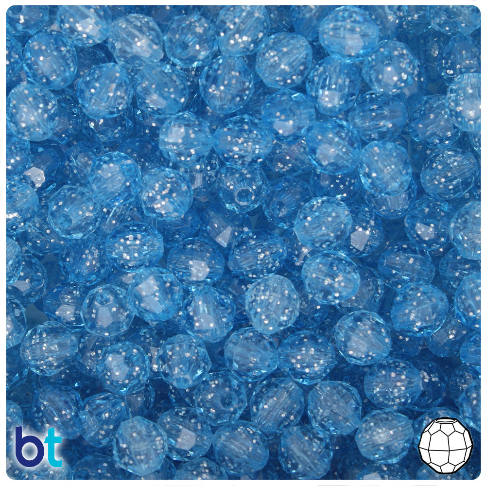 Light Sapphire Sparkle 8mm Faceted Round Craft Beads (450pcs)