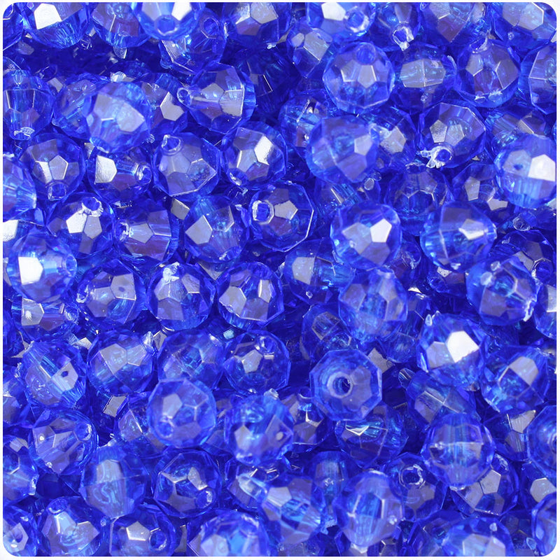Dark Sapphire Transparent 8mm Faceted Round Craft Beads (450pcs)