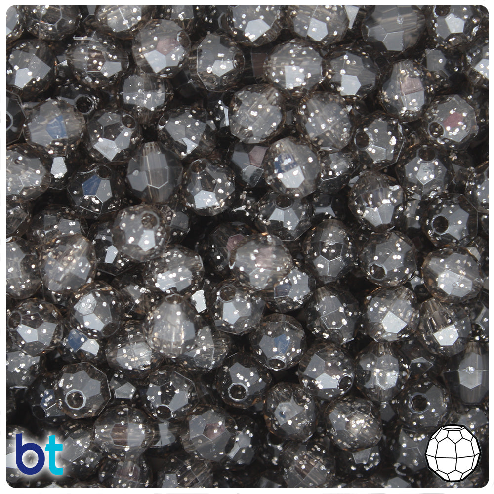 Jet Sparkle 8mm Faceted Round Craft Beads (450pcs)