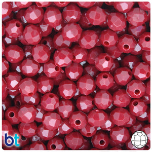Burgundy Opaque 8mm Faceted Round Craft Beads (450pcs)