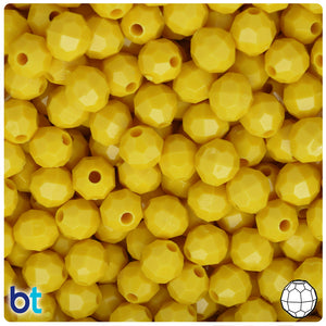 Bright Yellow Opaque 8mm Faceted Round Craft Beads (450pcs)