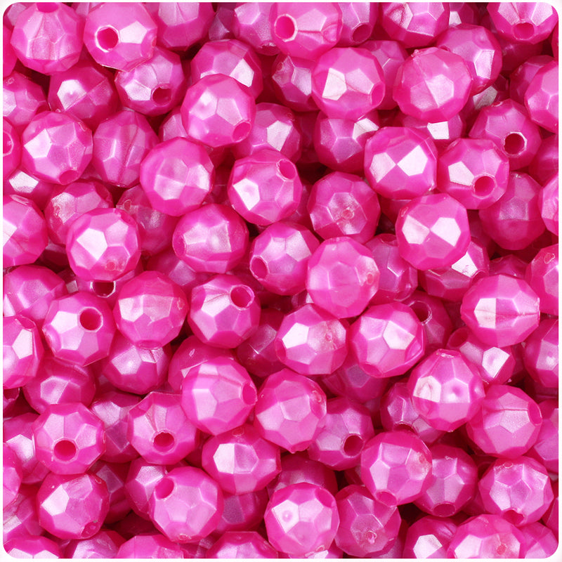 Hot Pink Pearl 8mm Faceted Round Plastic Beads (450pcs)