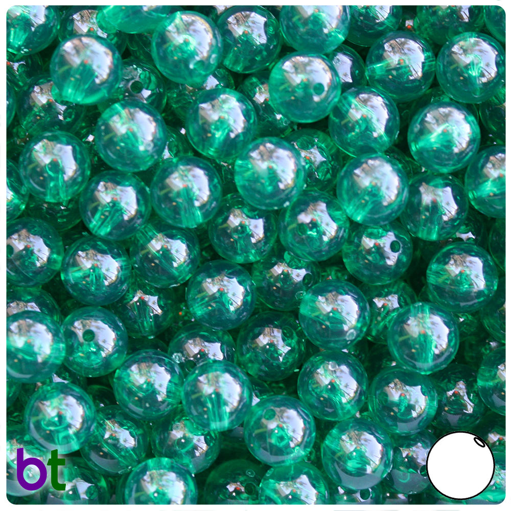 Emerald Transparent 10mm Round Craft Beads (150pcs)