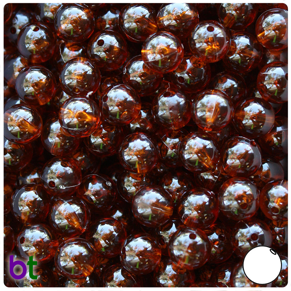 Root Beer Transparent 10mm Round Craft Beads (150pcs)