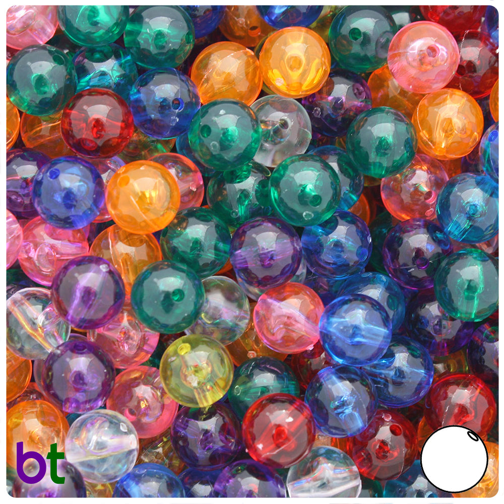 Transparent Multi 10mm Round Craft Beads (150pcs)