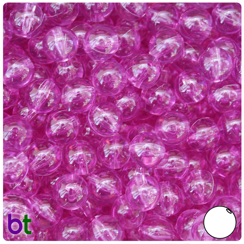 Light Fuchsia Transparent 10mm Round Craft Beads (150pcs)