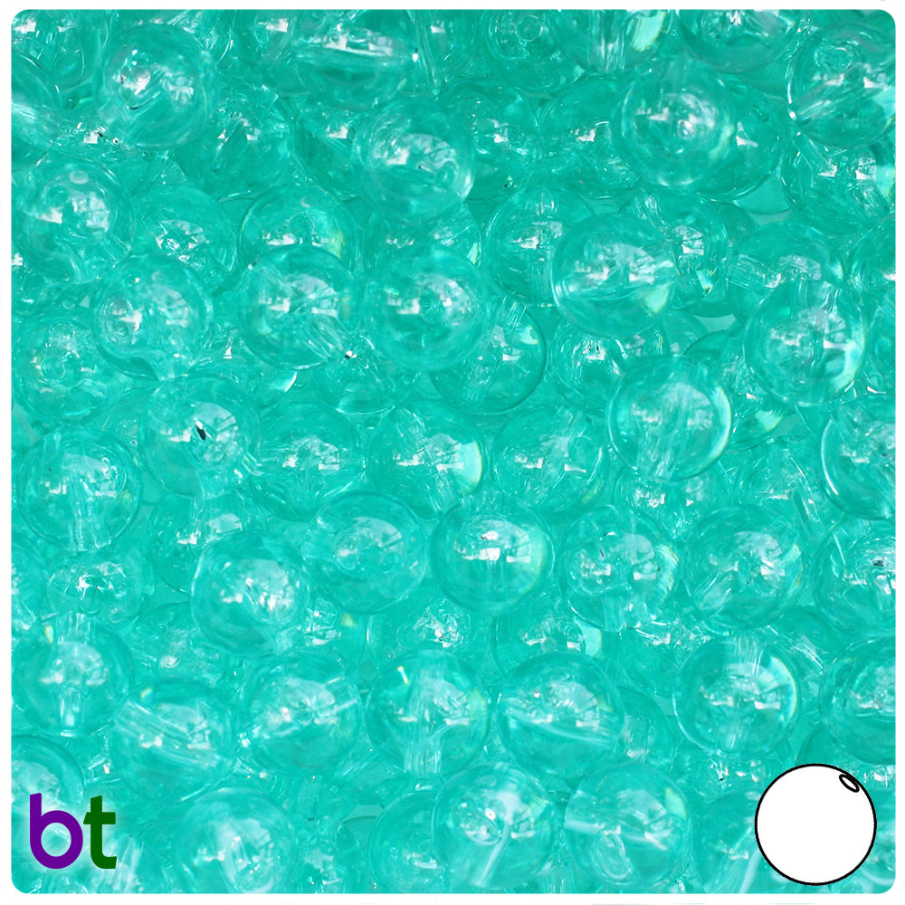Green Aqua Transparent 10mm Round Craft Beads (150pcs)
