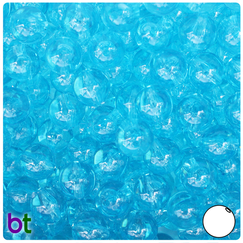 Light Turquoise Transparent 10mm Round Craft Beads (150pcs)