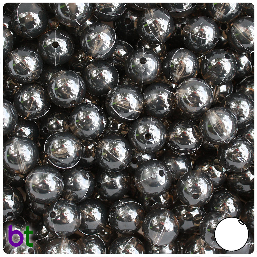 Jet Transparent 10mm Round Craft Beads (150pcs)