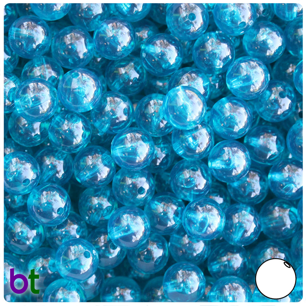 Teal Transparent 10mm Round Craft Beads (150pcs)