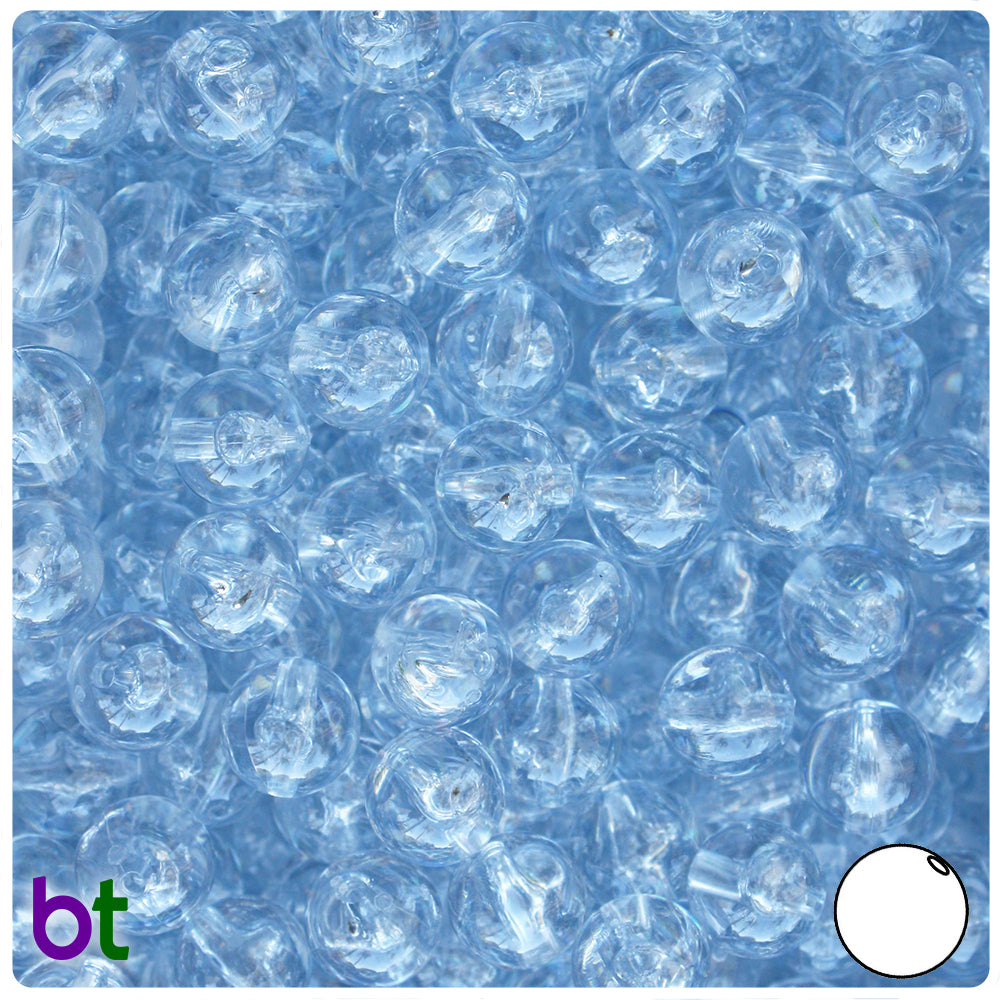 Ice Blue Transparent 10mm Round Craft Beads (150pcs)