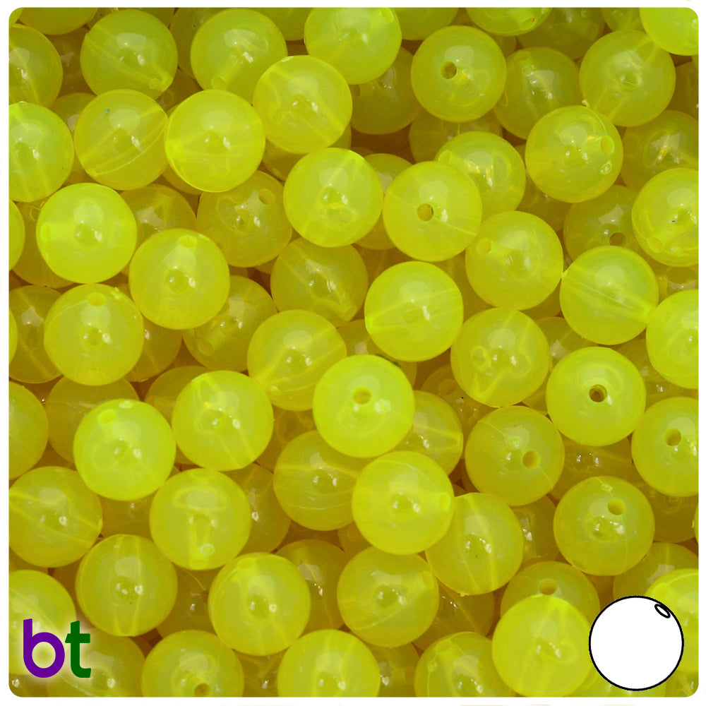 Lure Yellow Transparent 10mm Round Craft Beads (150pcs)