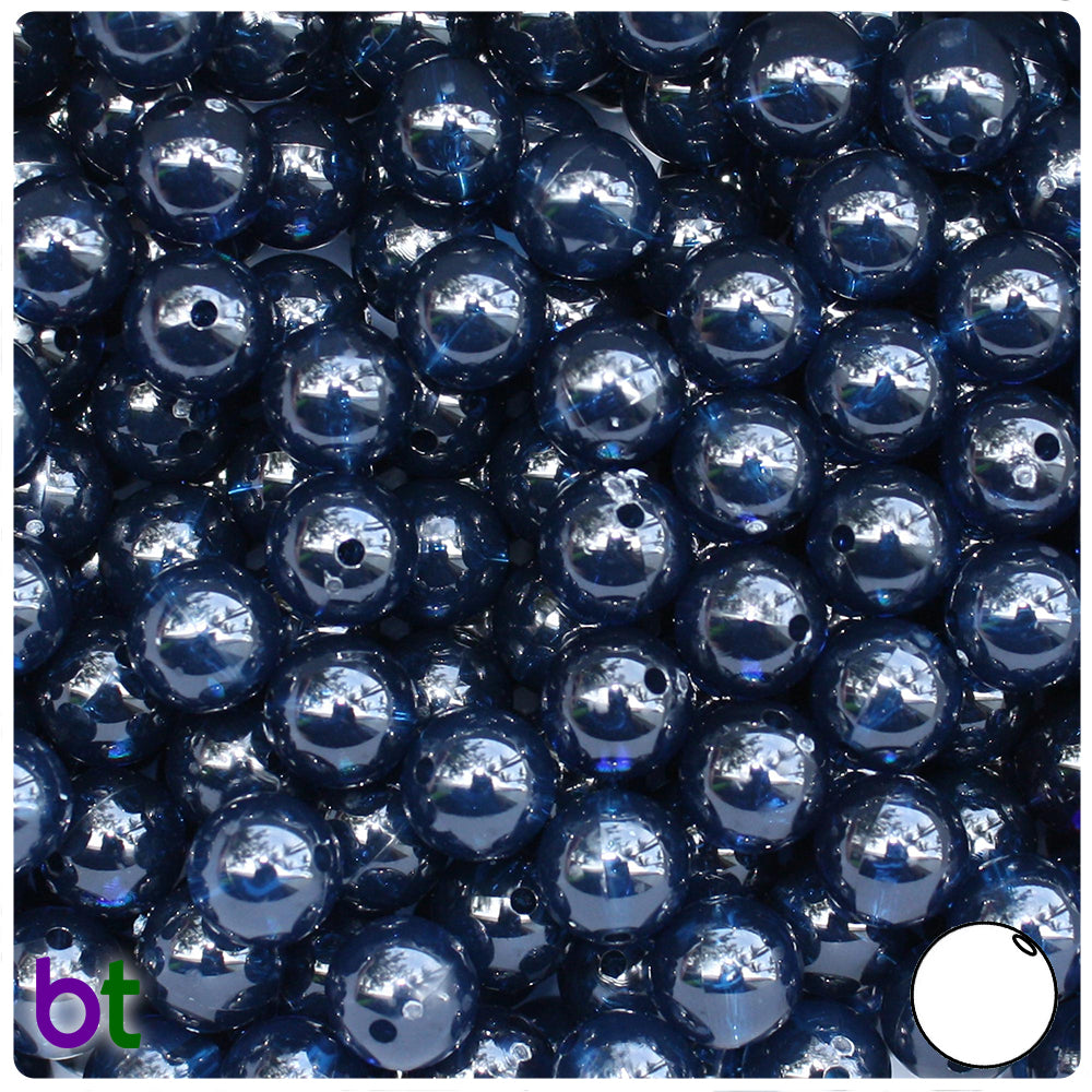 Montana Blue Transparent 10mm Round Craft Beads (150pcs)