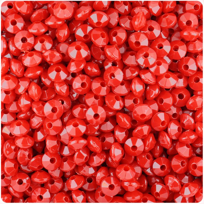 Red Opaque 6mm Faceted Rondelle Craft Beads (1200pcs)