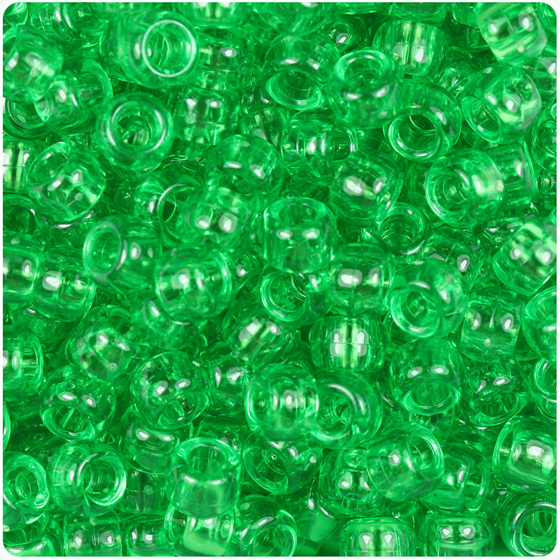 Mint Transparent 9mm Barrel Pony Beads (500pcs)