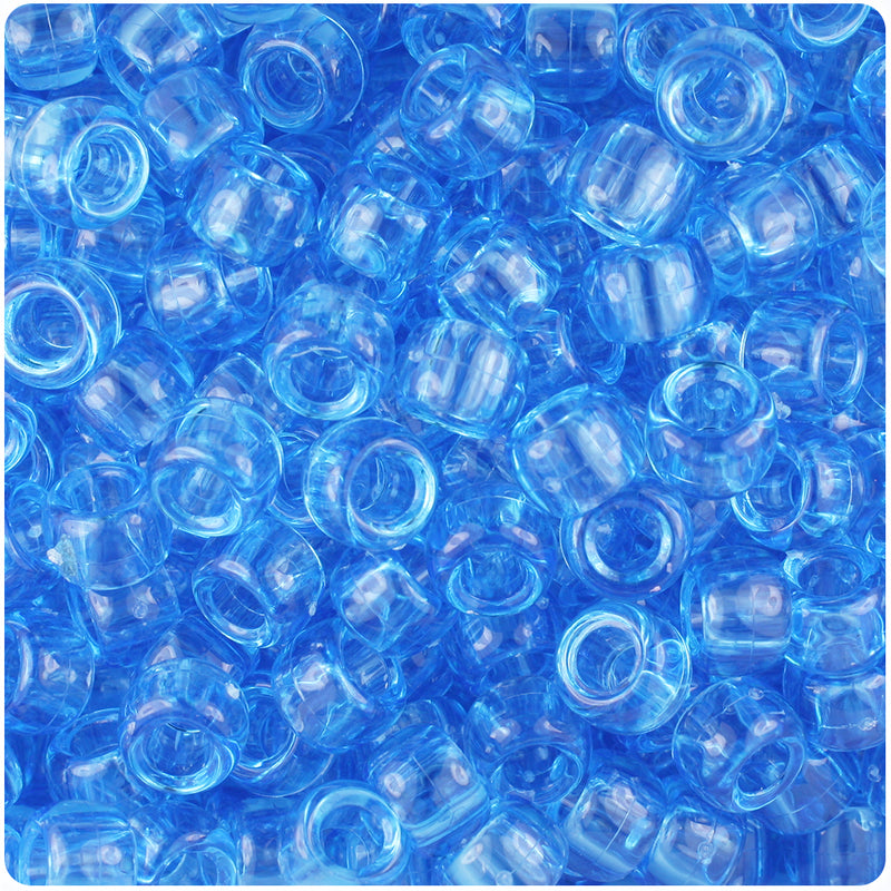 Light Sapphire Transparent 9mm Barrel Pony Beads (500pcs)