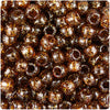 Root Beer Sparkle 9mm Barrel Pony Beads (500pcs)