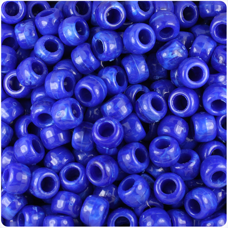 Bright Blue Marbled 9mm Barrel Pony Beads (500pcs)