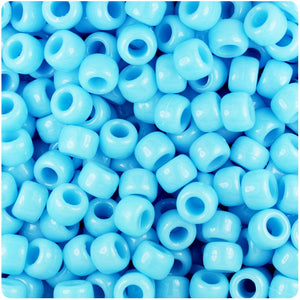 Baby Blue Opaque 9mm Barrel Pony Beads (500pcs)