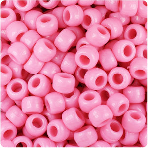 Baby Pink Opaque 9mm Barrel Pony Beads (500pcs)