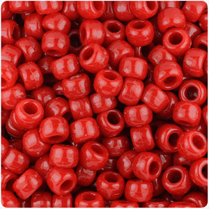 Red Opaque 9mm Barrel Pony Beads (500pcs)