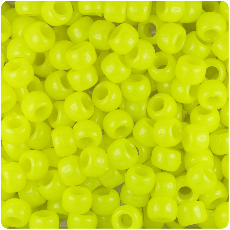 Lemon Neon Bright 9mm Barrel Pony Beads (500pcs)