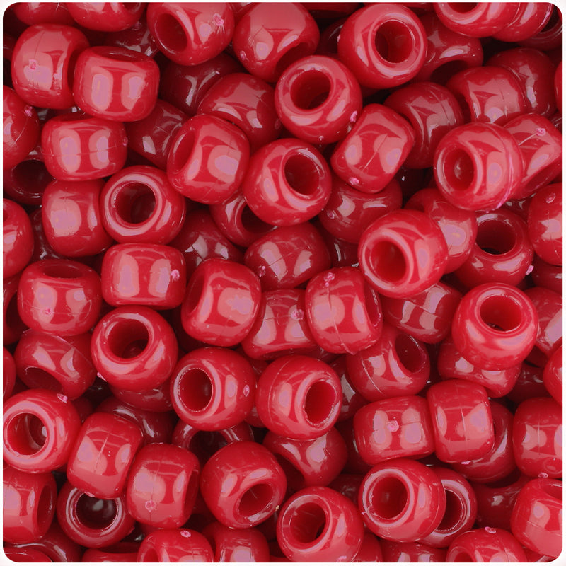 Burgundy Opaque 9mm Barrel Pony Beads (500pcs)