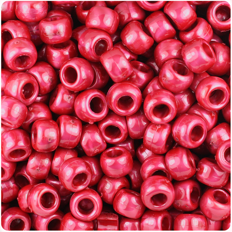 Red Pearl 9mm Barrel Pony Beads (500pcs)