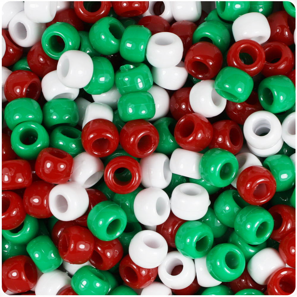 Christmas Mix Opaque 9mm Barrel Pony Beads (500pcs)