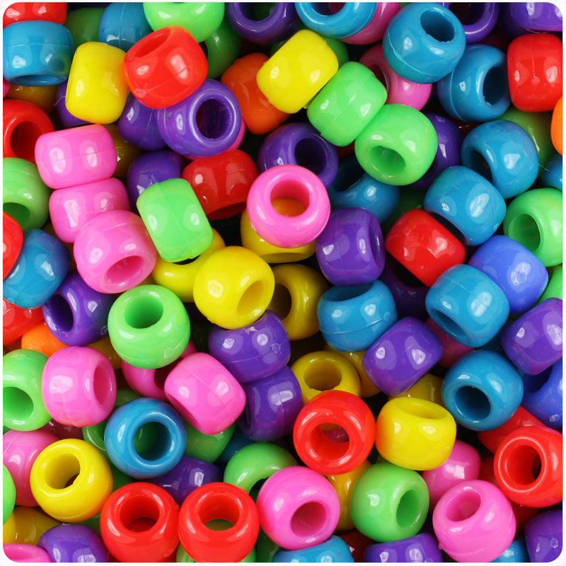 Circus Mix Opaque 9mm Barrel Pony Beads (500pcs)