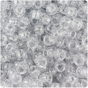 Silver Sparkle 9mm Barrel Pony Beads (500pcs)