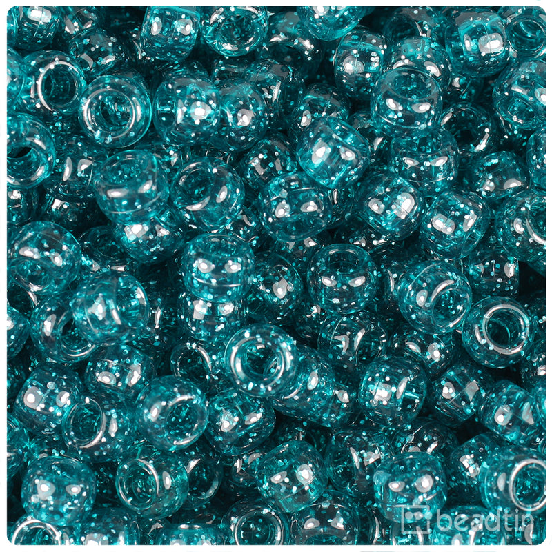 Catans Teal Sparkle 9mm Barrel Pony Beads (500pcs)