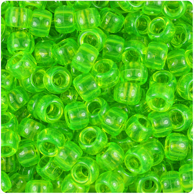 Lime Roe Transparent 9mm Barrel Pony Beads (500pcs)