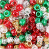 Christmas Mix Sparkle 9mm Barrel Pony Beads (500pcs)