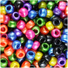Dark Mix Pearl 9mm Barrel Pony Beads (500pcs)