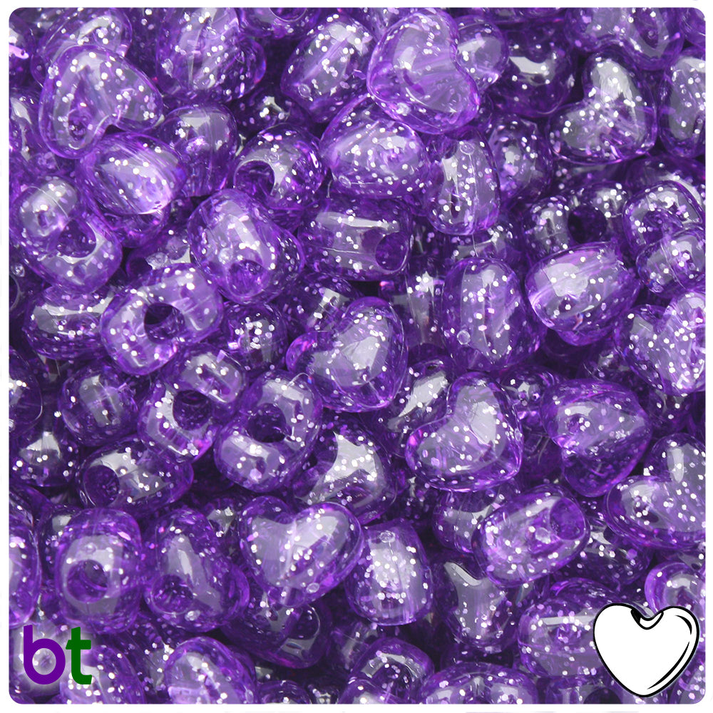 Amethyst Sparkle 12mm Heart Pony Beads (250pcs)
