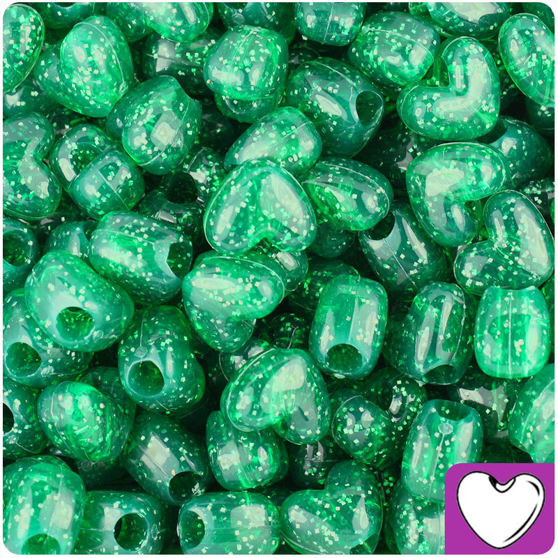 Emerald Sparkle 12mm Heart Pony Beads (250pcs)