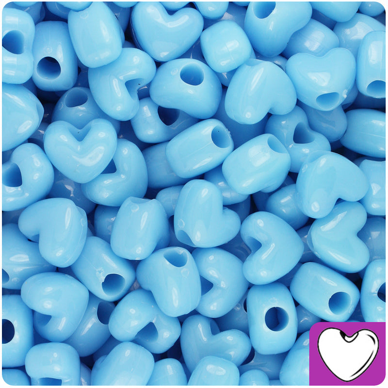 Baby Blue Opaque 12mm Heart Pony Beads (250pcs)