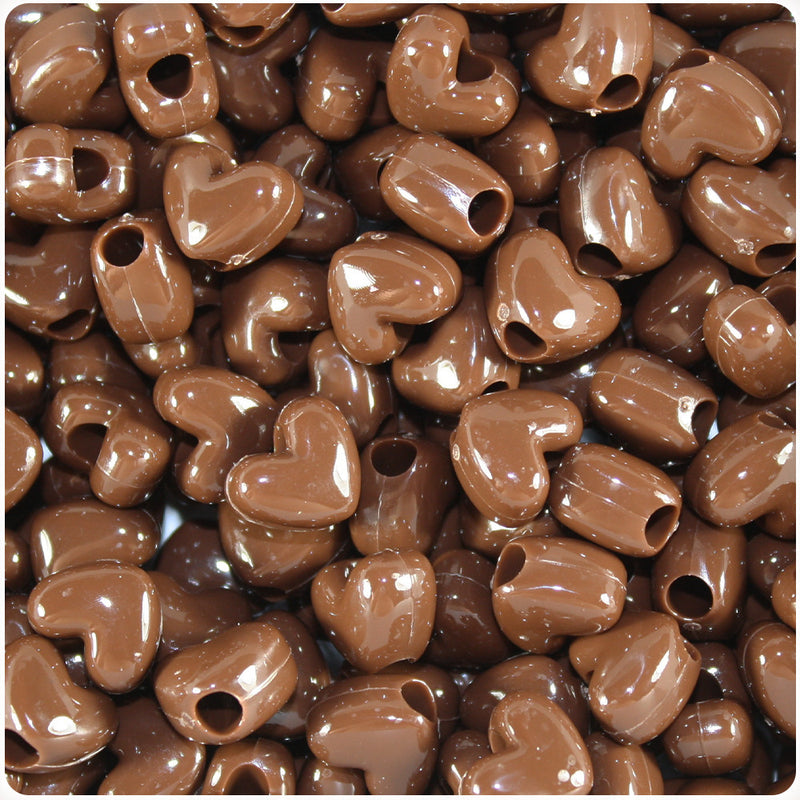 Chocolate Opaque 12mm Heart Pony Beads (250pcs)