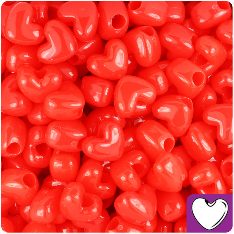 Bright Red Opaque 12mm Heart Pony Beads (250pcs)