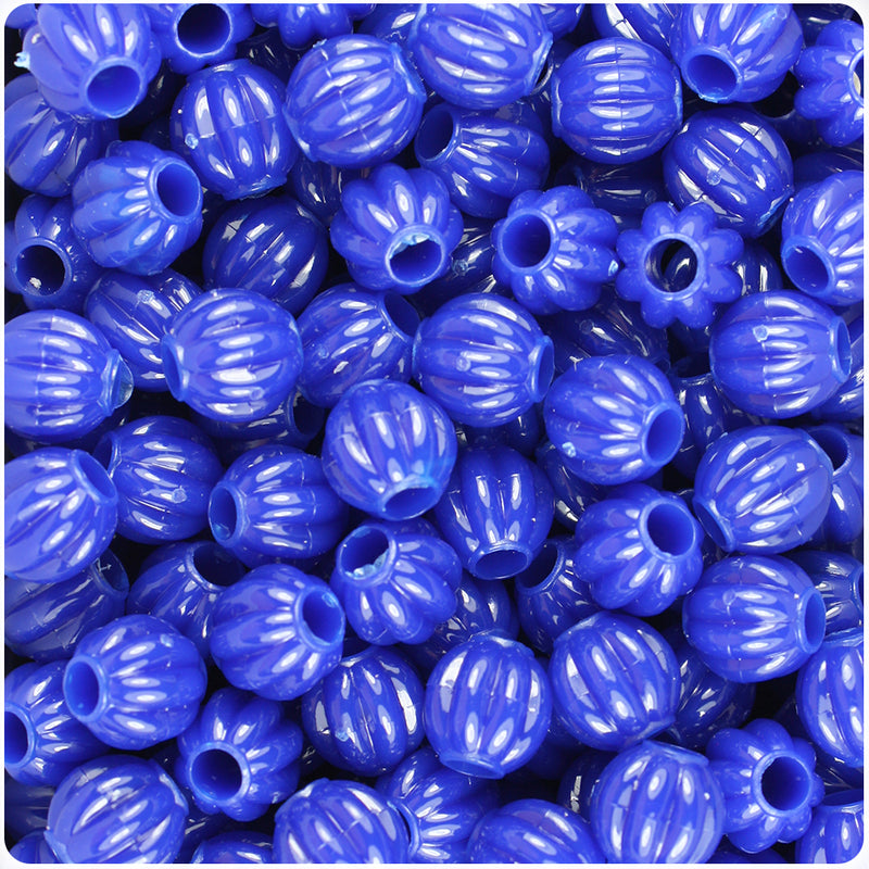 Royal Blue Opaque 10mm Melon Pony Beads (300pcs)