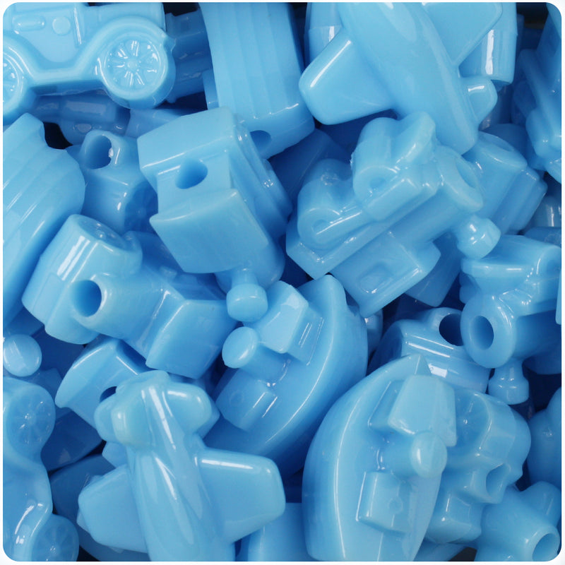 Baby Blue Opaque Mini Mobile Pony Beads (24pcs)