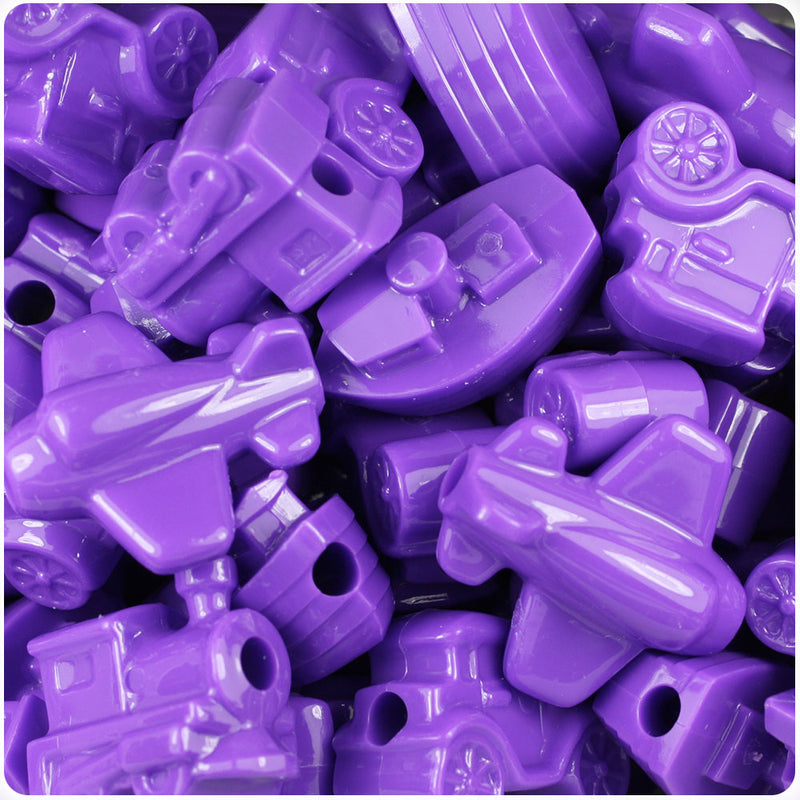 Dark Lilac Opaque Mini Mobile Pony Beads (24pcs)