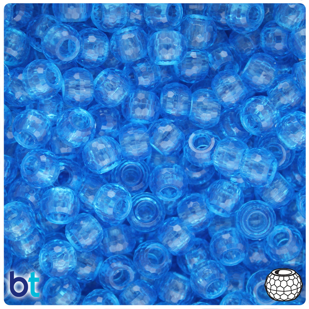 Light Sapphire Transparent 9mm Faceted Barrel Pony Beads (500pcs)