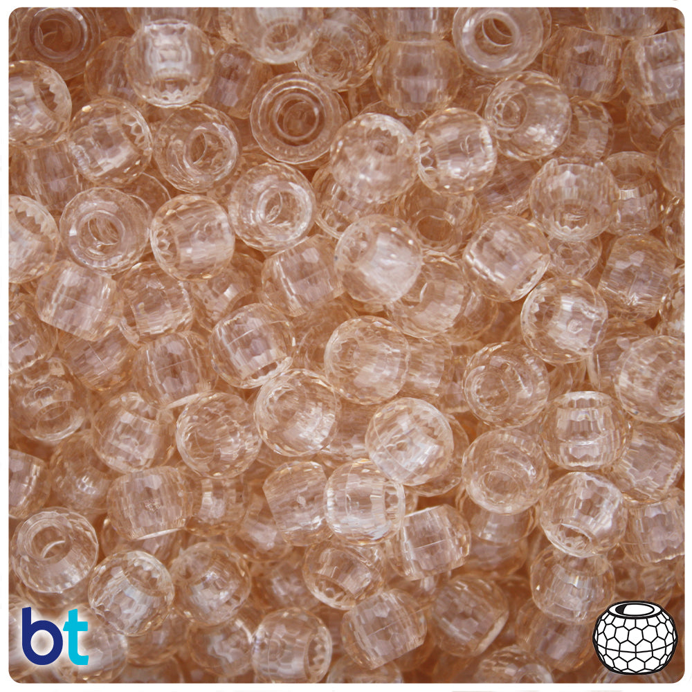 Champagne Transparent 9mm Faceted Barrel Pony Beads (500pcs)