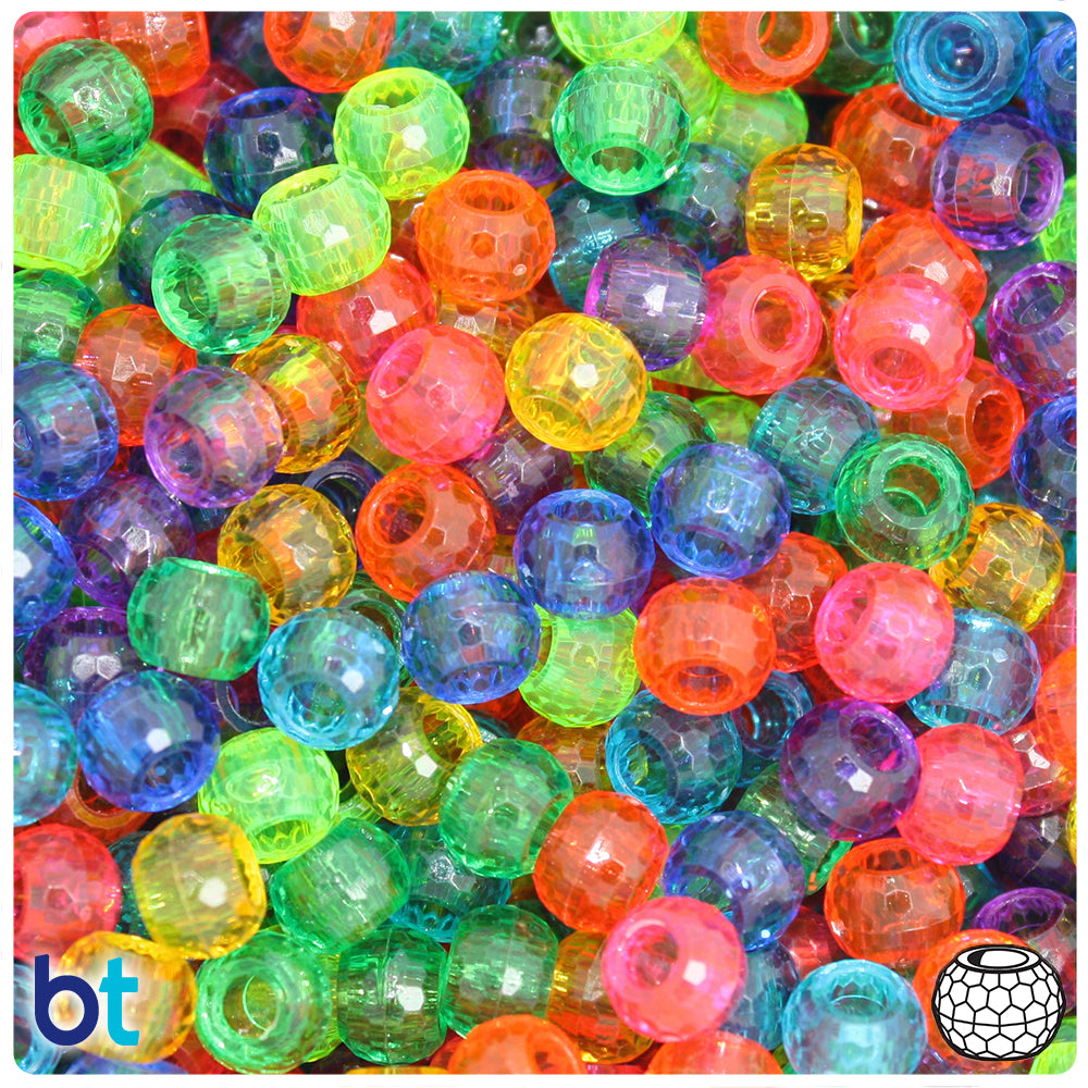 Rainbow Mix Transparent 9mm Faceted Barrel Pony Beads (500pcs)