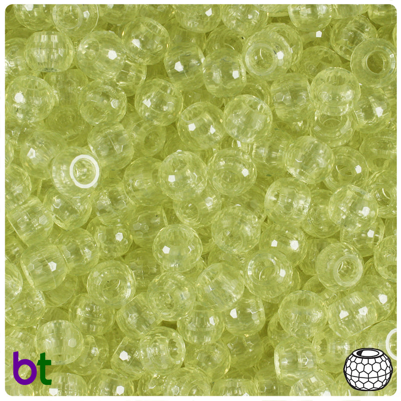 Pastel Yellow Transparent 9mm Faceted Barrel Pony Beads (500pcs)