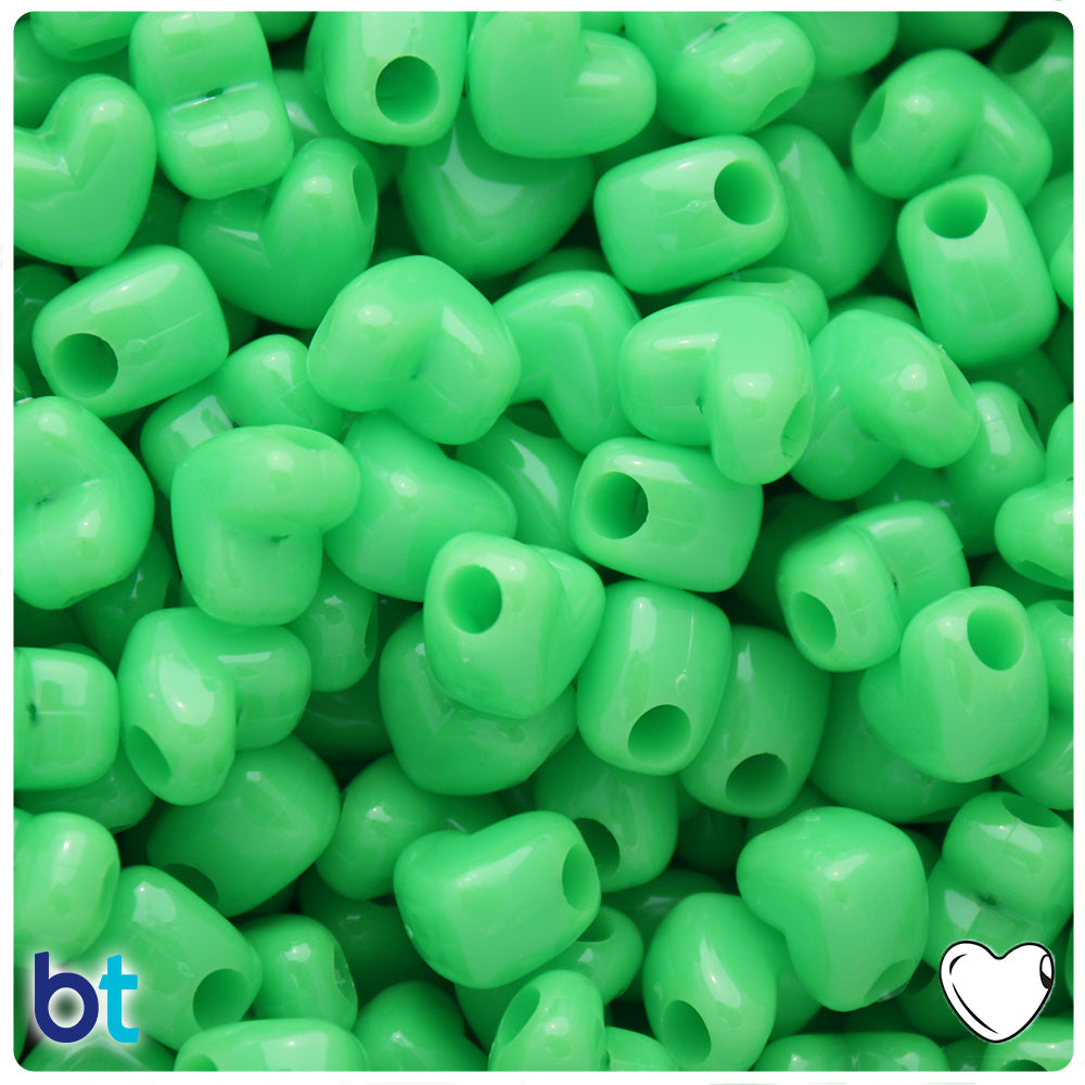 Lime Opaque 12mm Heart Pony Beads w/HH (250pcs)