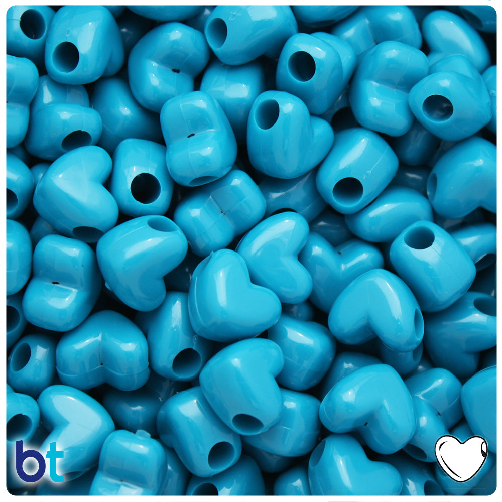 Dark Turquoise Opaque 12mm Heart Pony Beads w/HH (250pcs)