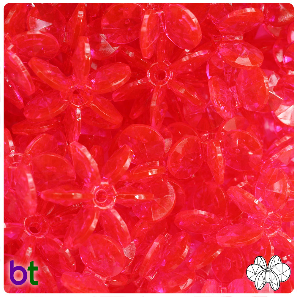 Hot Pink Transparent 25mm SunBurst Craft Beads (69pcs)